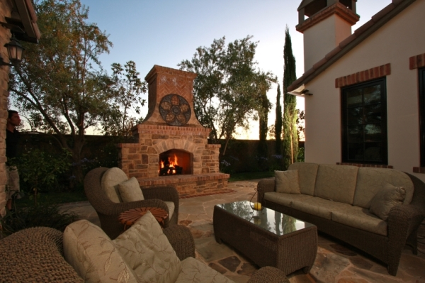Custom Outdoor Fireplace, Outdoor Living, Landscaping