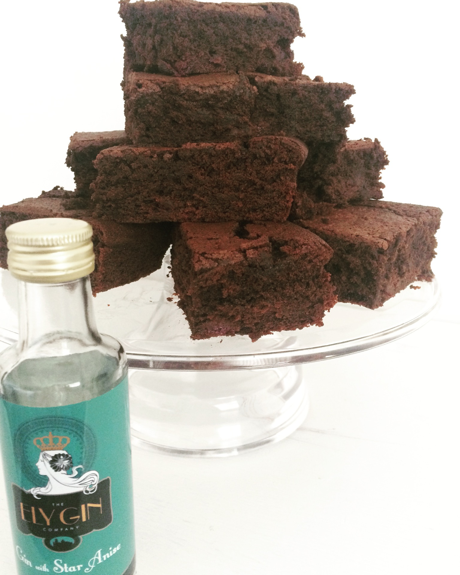 Ely Gin with Star Anise, Molasses and Blackcurrant Brownies