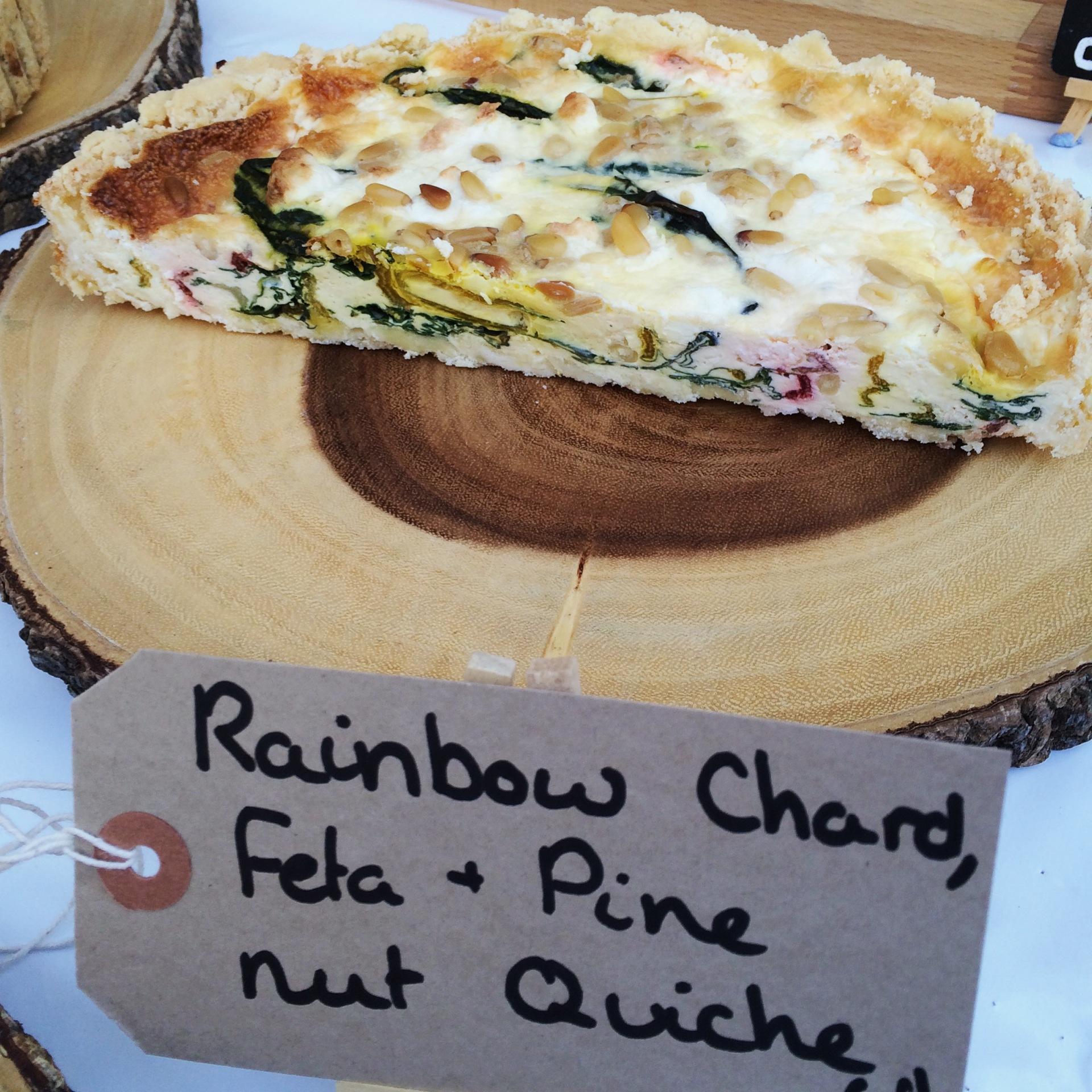 Rainbow Chard, Feta and Pine Nut Quiche