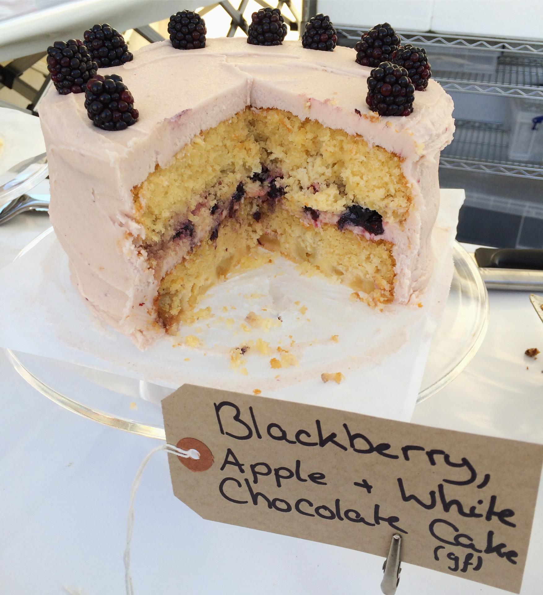 Blackberry, Apple and White Chocolate Cake