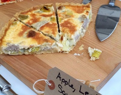 Apple, Leek, Sausage, Sage and Cider Quiche