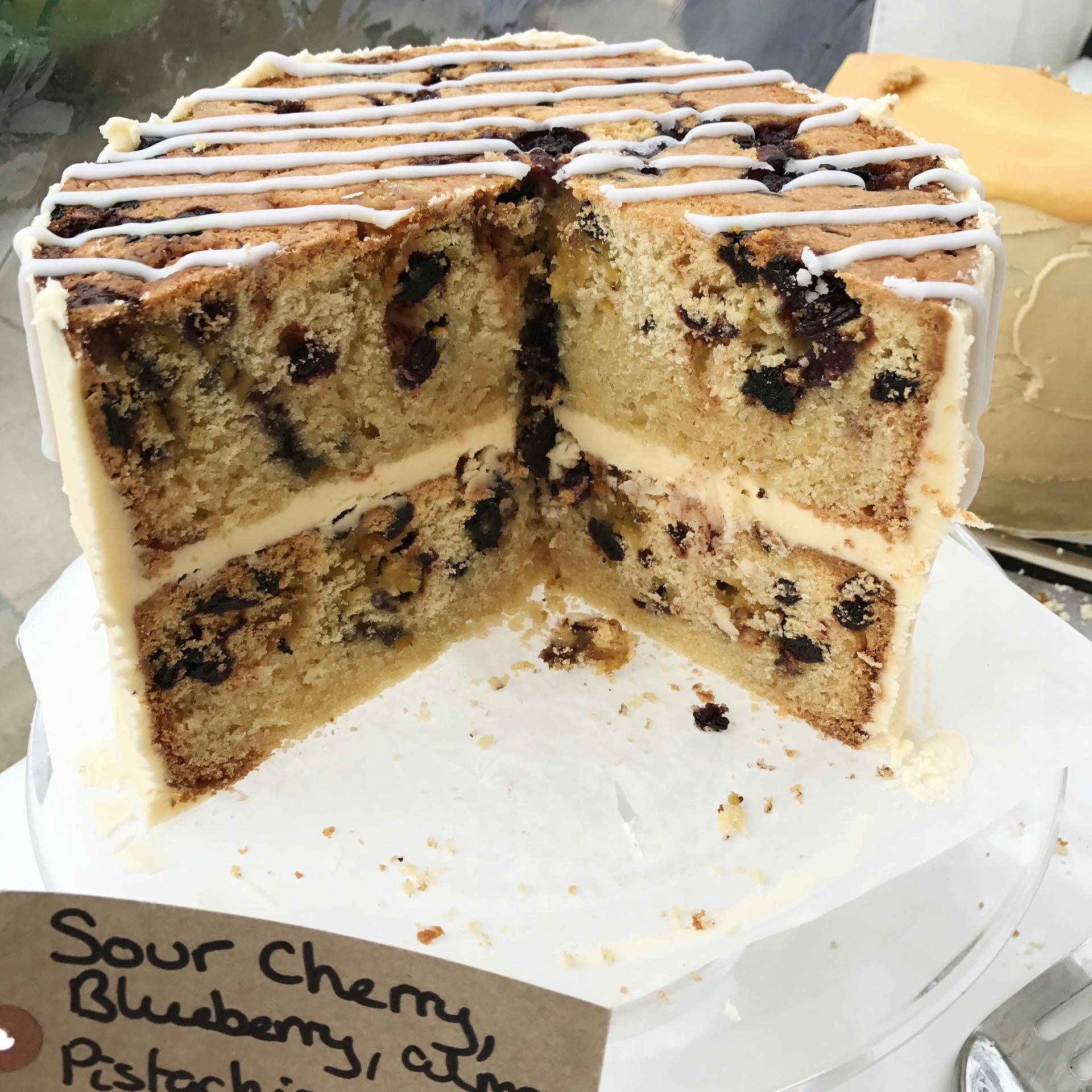 Sour Cherry, Blueberry, Pistachio, Almond and Orange Blossom Roll Cake