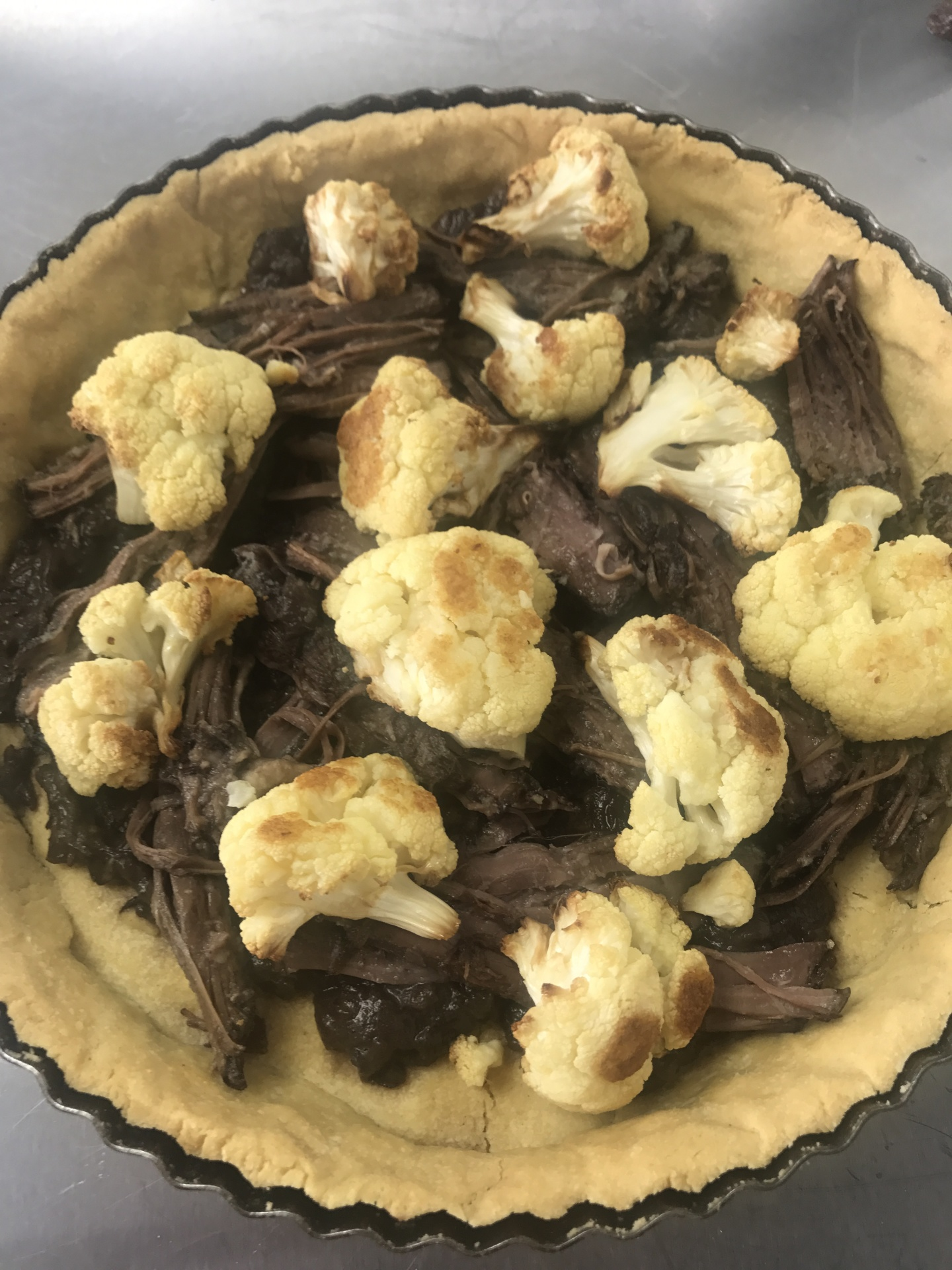 Mulled Wine Beef Brisket and Roasted Cauliflower Quiche
