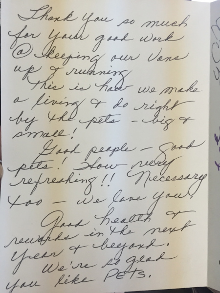 thank you note from happy customer after we repaired  their generator