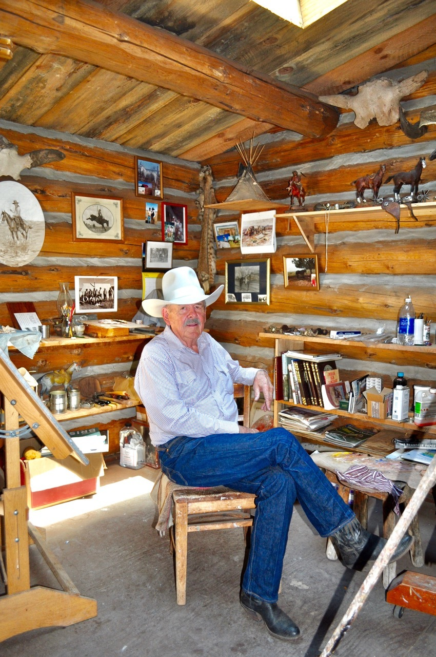 art studio, len babb westen art, western art, cowboy artist, buckaroo art, len babb,