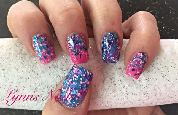 Hot pink acrylic with fun glitter