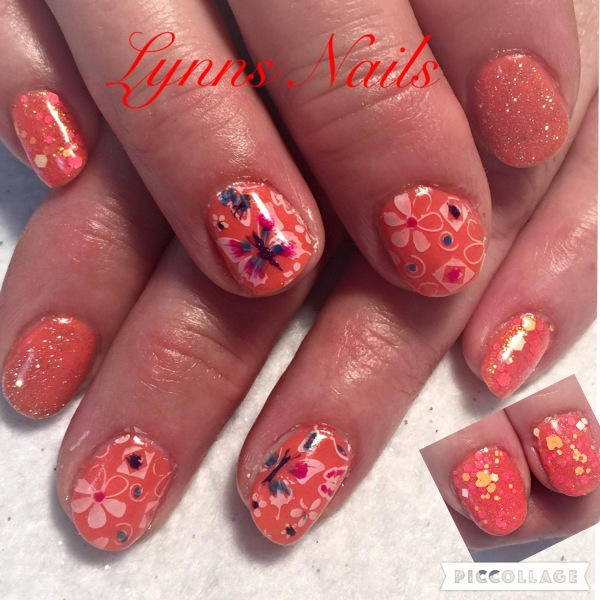 Shellac with stamping and glitter