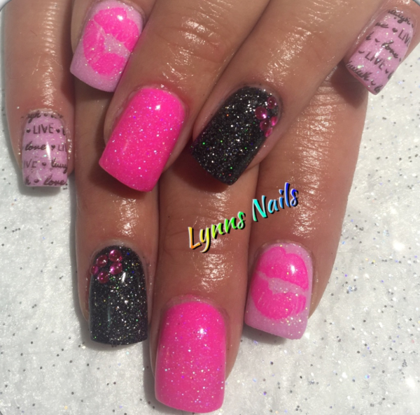 Pink and black acrylic with stamping