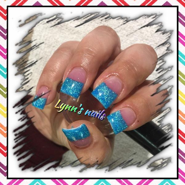 Teal glitter acrylic
