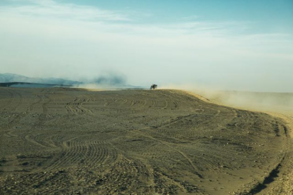 Driving through the dust in Namibia