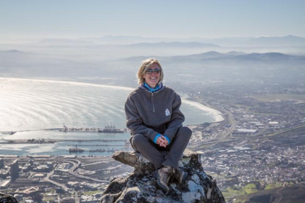 Liz at the top of Table Mountain in Cape Town
