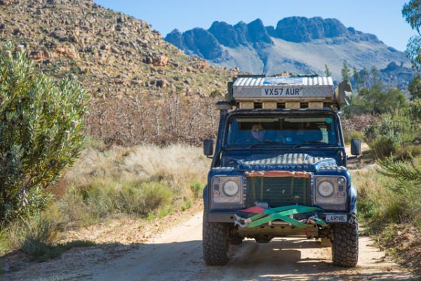 Arnie in Cederberg, South Africa, prepped for a tow-start