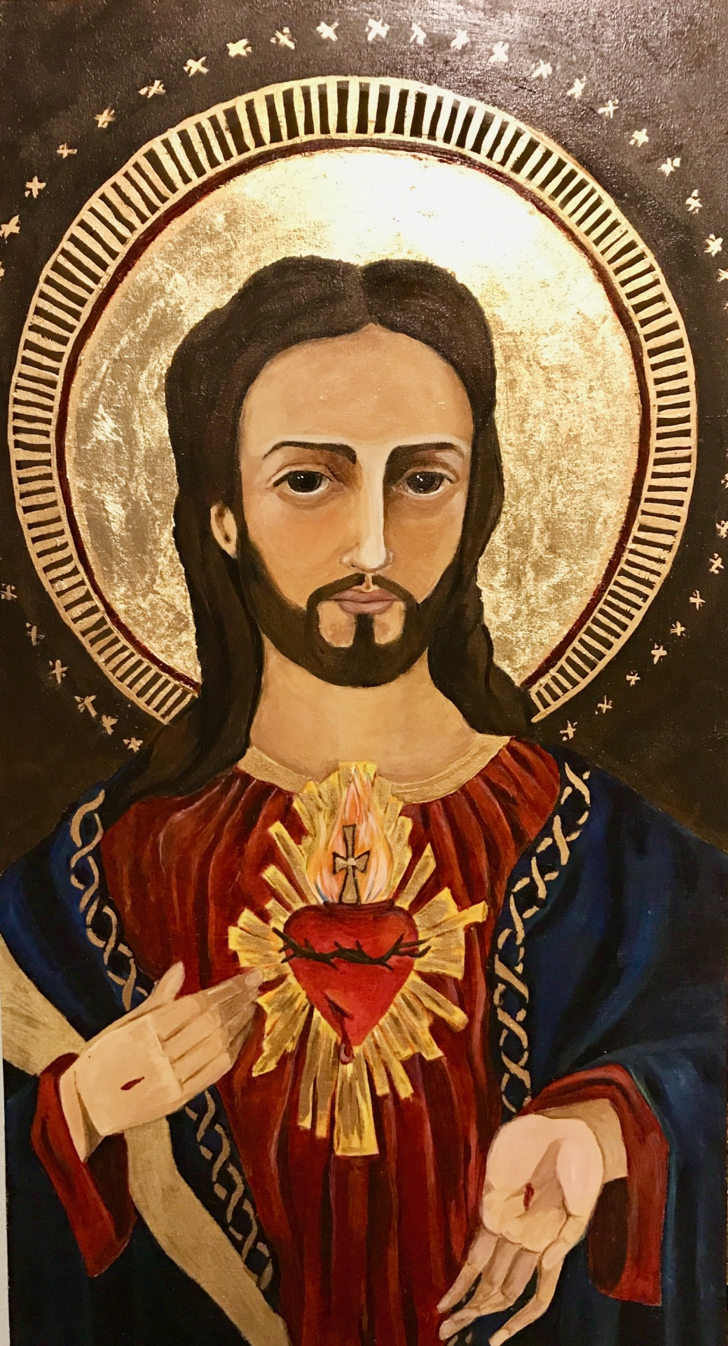 Sacred Heart of Jesus, Egg Tempera, gold leaf, Catholic art, holy art, religious art