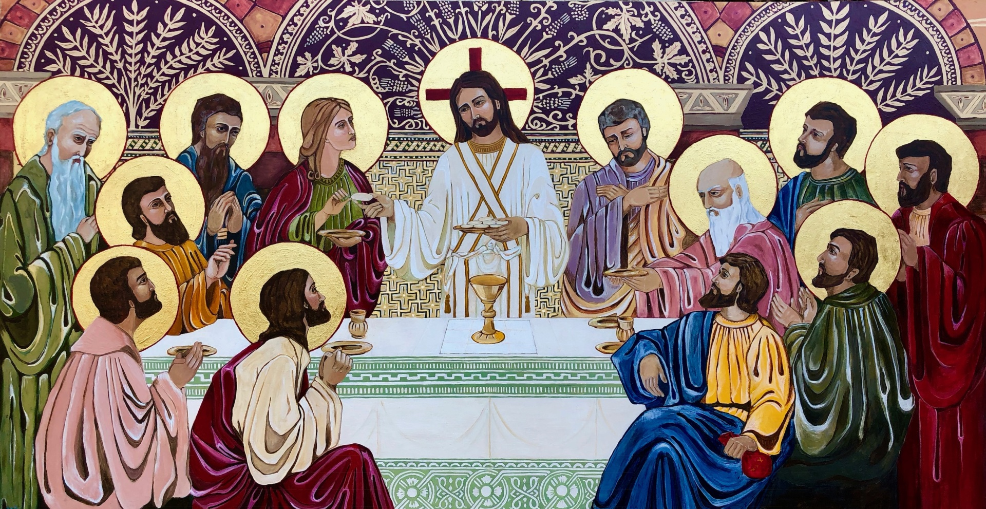the last supper, Jesus, angels, Catholic art, religious art, holy images, iconography