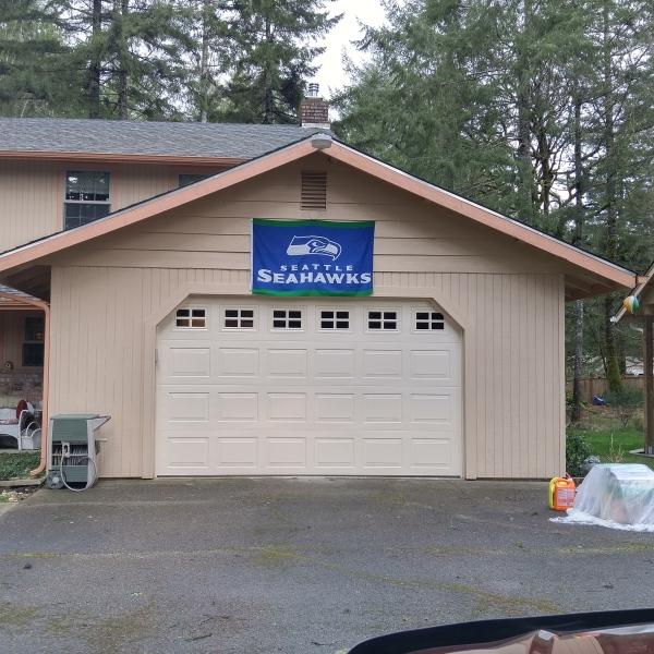 Competed garage door remodel