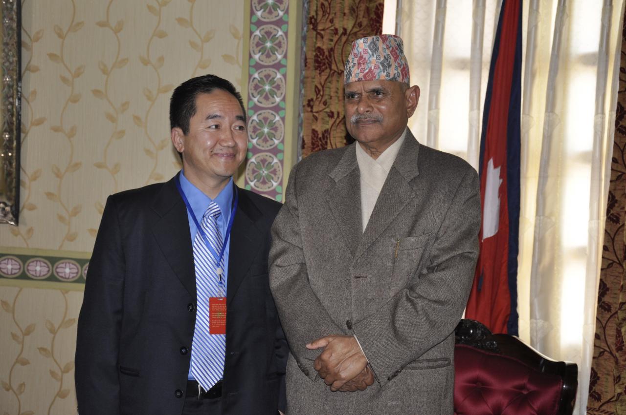 President Milan K Rai with Dr.Ram Baran Yadav, president of Nepal.