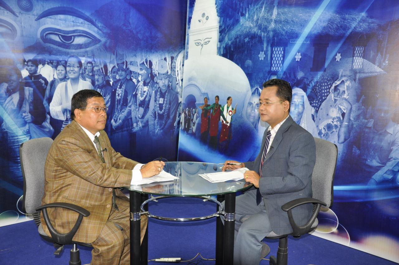 Advisor Shiv Kumar Rai being interviewed by Sagarmatha TV.