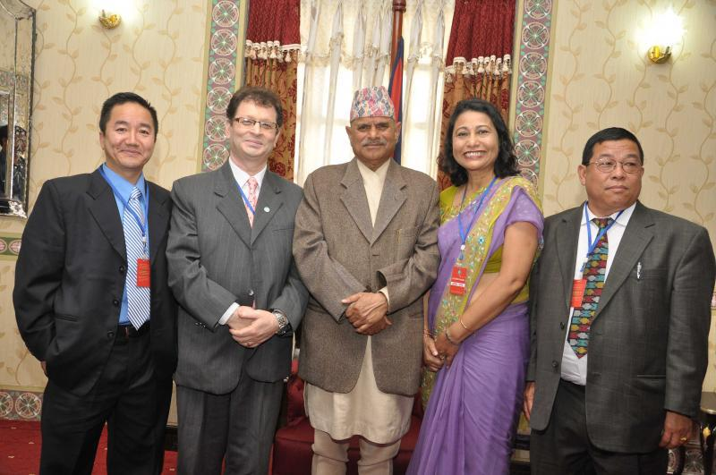 UKROA president Mr. Milan Rai and Advisor Mr. Shiv Rai with Nepal's president Dr. Ram Baran Yadav