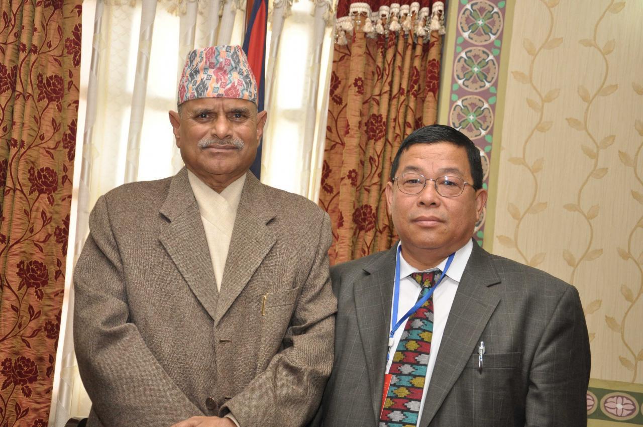 Advisor Shiv K Rai with Dr.Ram Baran Yadav, president of Nepal.
