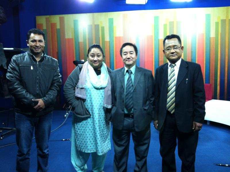 President Milan Rai, his wife Ava Rai with the Sagarmatha TV personnels.