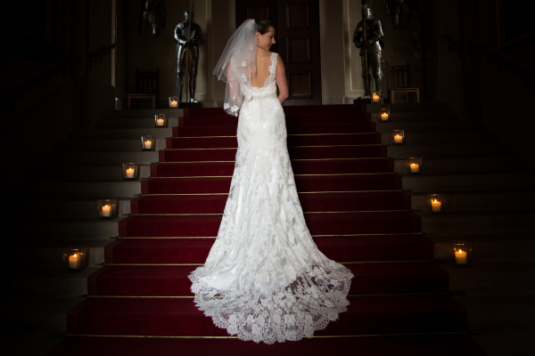 Beautiful bride on the stairs