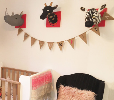 CUSTOM DESIGN kids animal trophy heads + name  bunting