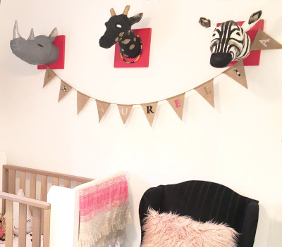 CUSTOM DECORATION  animal trophy heads + name  bunting