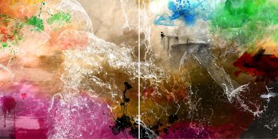 WATERFALL - Diptych - $2,400 - 120cm x 240cm x 3cm