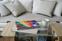 coffee, table, books