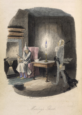 Scrooge is haunted by Marley's Ghost in A Christmas Carol