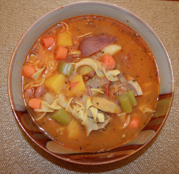 Our beautiful beef soup with vegetables