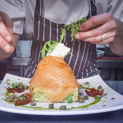 Open salmon sandwich