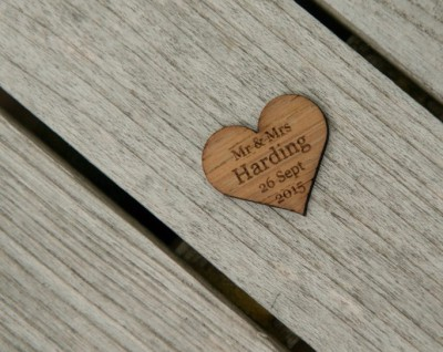 Personalised wooden heart table decoration