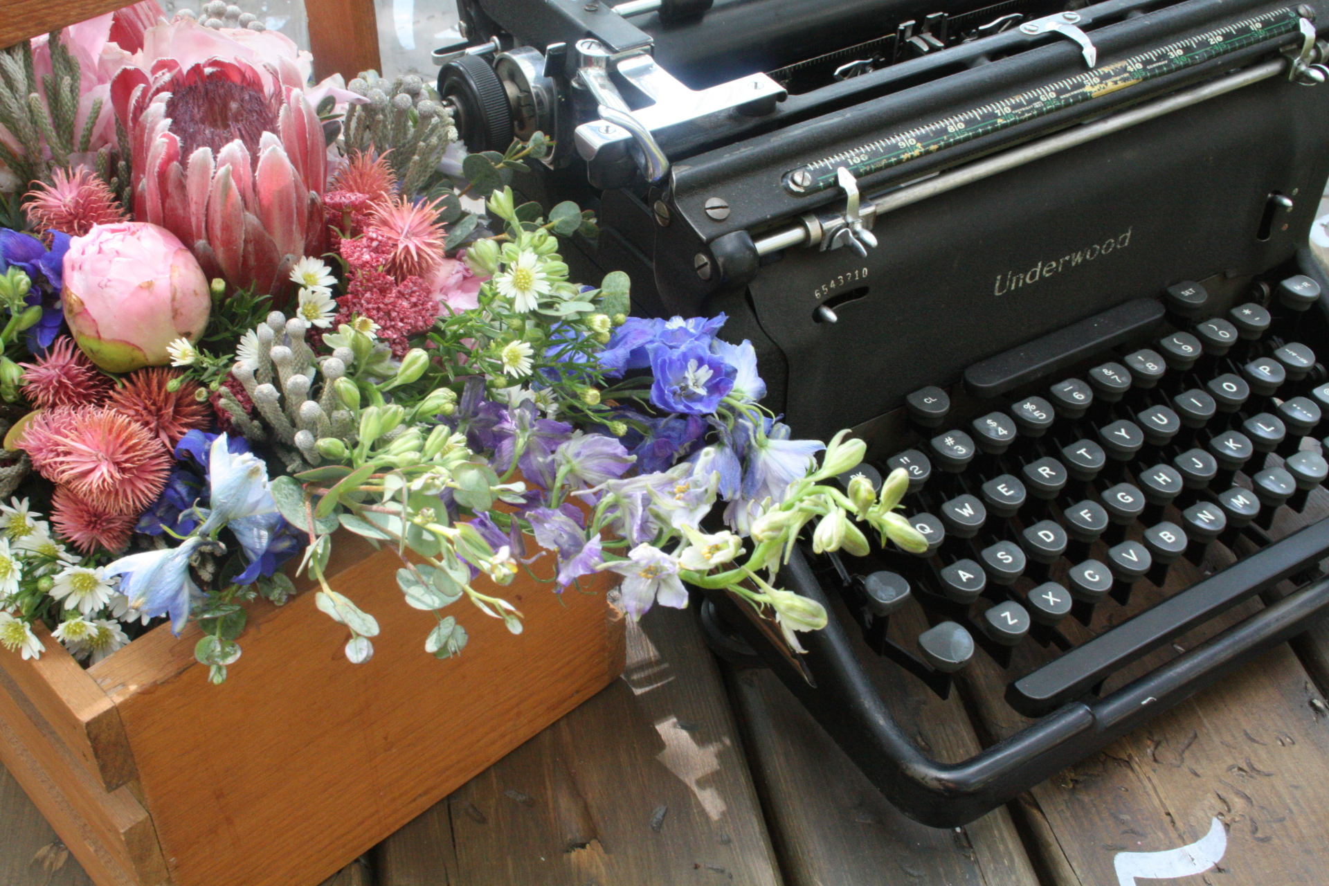 Antique Typewriter with flowers