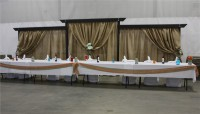Wood framed burlap backdrop available for rent