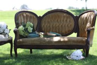 Gorgeous antique gold sofa available  for rent from Stagecoach Design