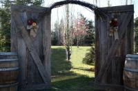 Barn wood backdrop Archway available for rent
