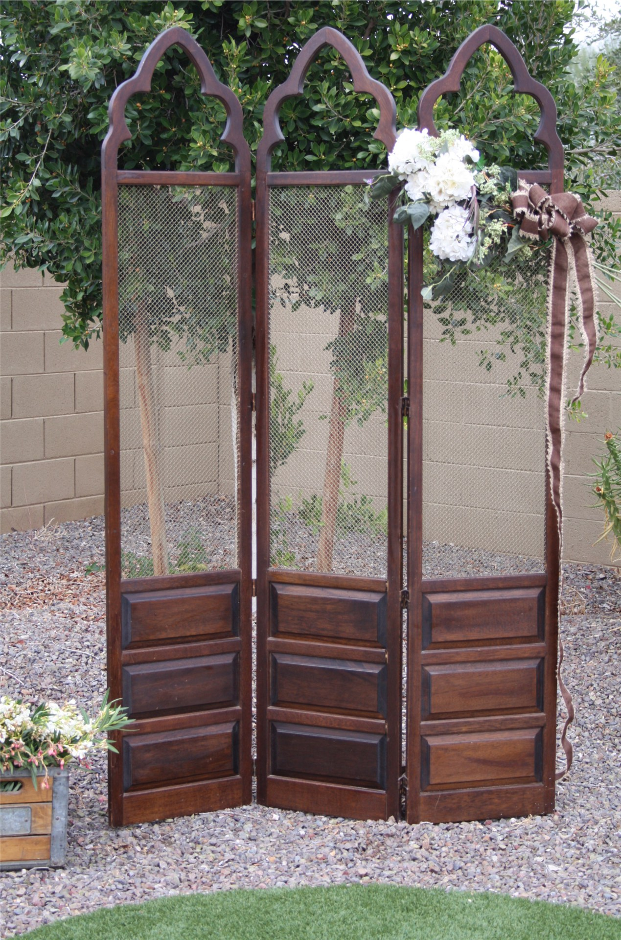 Boho wedding backdrop mid-century mahogany screen