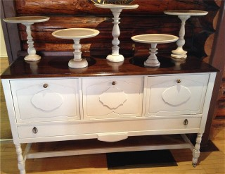 Antique Sideboard {$120} Dessert Stand Set {$75}