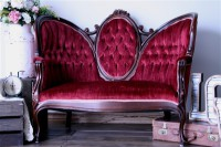 victorian deep pink red antique sofa rent stagecoach
