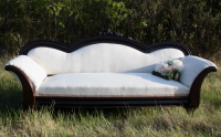 Agnes antique vintage white with dark trim couch to rent for wedding photos Stagecoach