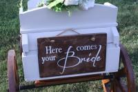 rent rustic child's wagon ceremony aisle wedding decor
