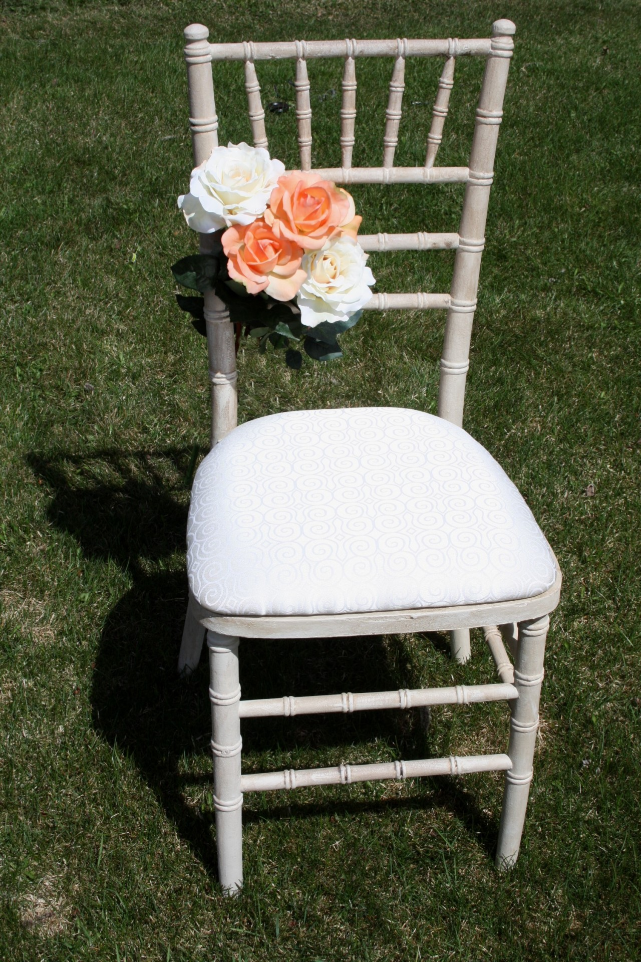 rent hand painted cream chiavari chair in Edmonton from Stagecoach