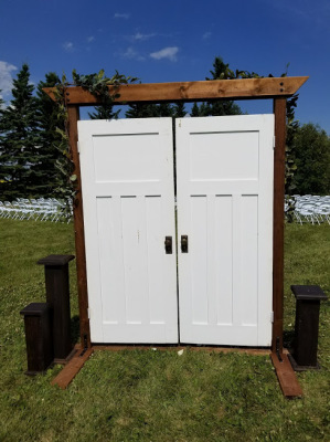 Ceremony White framed vintage entrance doors for rent