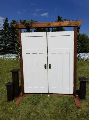 Ceremony White framed vintage entrance doors for rent
