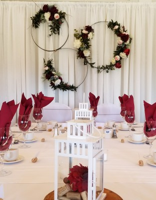 Rent drapery and pipe for head table backdrop