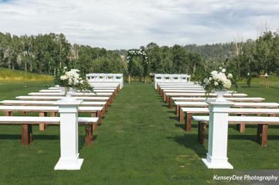 rustic wedding bench seating to rent from Stagecoach YEG rentals