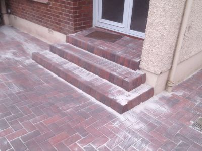 Monoblock driveway with new steps