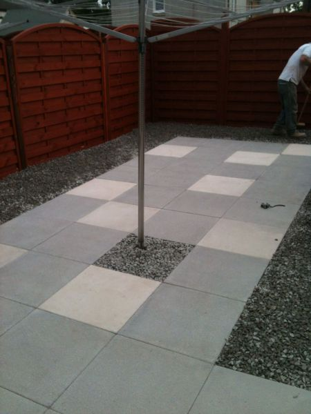 Concrete slab patio with accents for a beautiful finish.