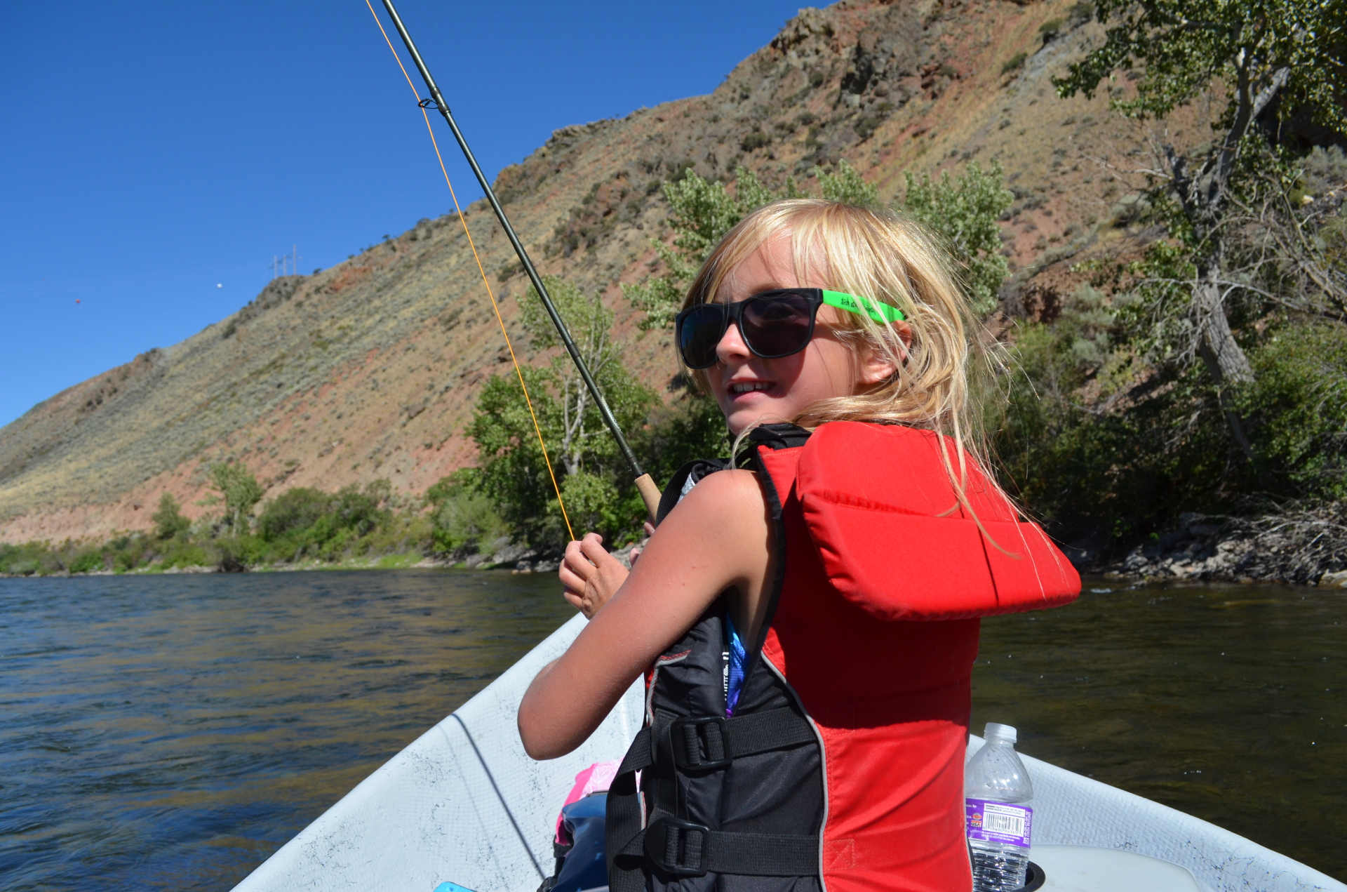 Taylor trying out the fly rod